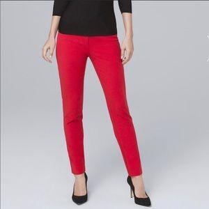 WHBM Slim Ankle Pant In Red